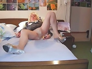 Slut Barbie playing and cumming in pantyhose