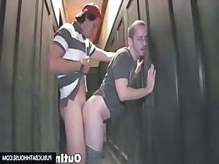 Two Nerdy Guys Fuck In A Hallway