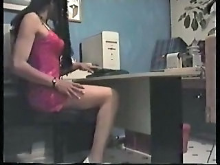 Crossdresser in office with homemade sex machine