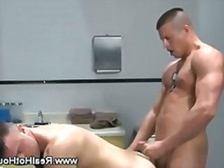 Gay soldier cums on a guys butt