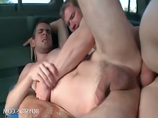 Gay hardcore anal fuck with hot studs in bus