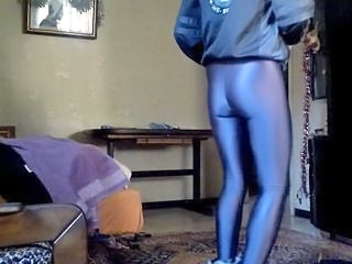 "Gray spandex leggings (American Apparel) & zebra fur boots."" class=""th-mov"