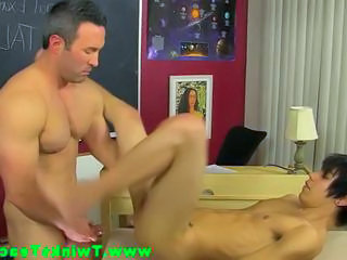 Gay teacher bangs his twinks ass during his lesson