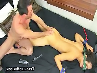 Crazy older guy ties up and has fun with his twink