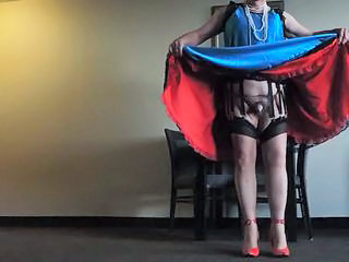 Sissy Ray in Blue Dress and Red Petticoat in Hotel