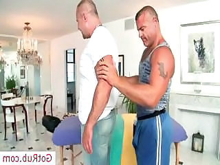 Muscled mature man gets massaged part2