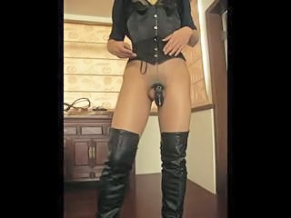 Mini Dress, Thigh Boots plus black CB6000 Sex Tubes