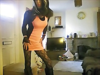 crossdresser in new heels and dress