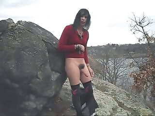 Naked Tranny  by a pond!!!