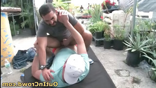 Bearded Gay Gardener Gives Sucking