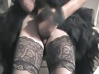 Wear Hot Petticoat, Masturbate And Cum Through Nylons