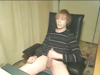 Shaggy Blond Teenage Twink Brings His Sexy Legs Up While Stroking Cock
