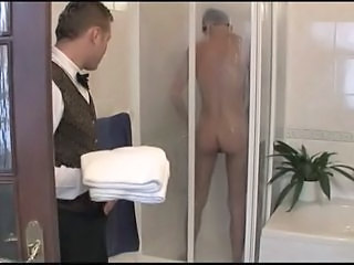 Room Servant Walks In On Boy Showering, Fucks Him Bareback